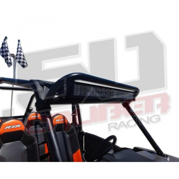 Polaris rzr roll cage radius light bar rack mount with led light led included polaris 2014 xp1000 and s900 trail light bar mount combo installed right front view mozeypictures Choice Image