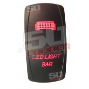 Illuminated On/Off Rocker Switch LED Light Bar Red