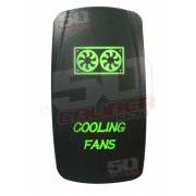 Illuminated On/Off Rocker Switch Cooling Fans Green