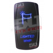 Illuminated On/Off Rocker Switch Lighted Whip Blue