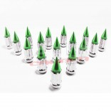 12 x 1.25 mm Chrome Lug Nuts with Anodized Aluminum Spikes - 16 Pack