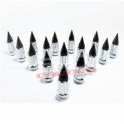 3/8 x 24 Chrome Lug Nuts with Anodized Aluminum Spikes - Black