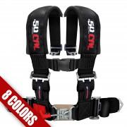 "BLACK - 2"" 4 point Harness Seat Belt 50 Caliber Racing"