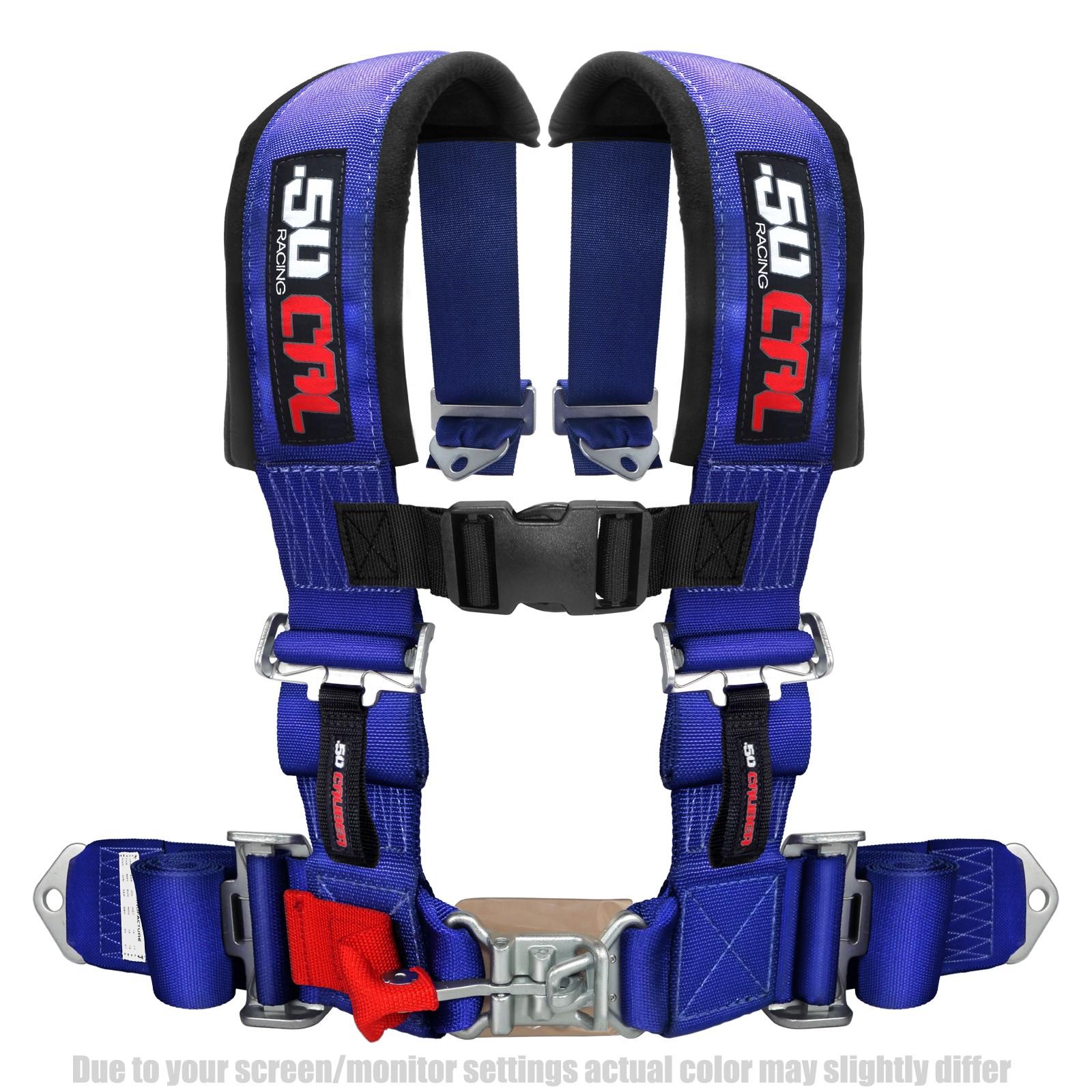 blue 2 4 point harness seat belt 50 caliber racing