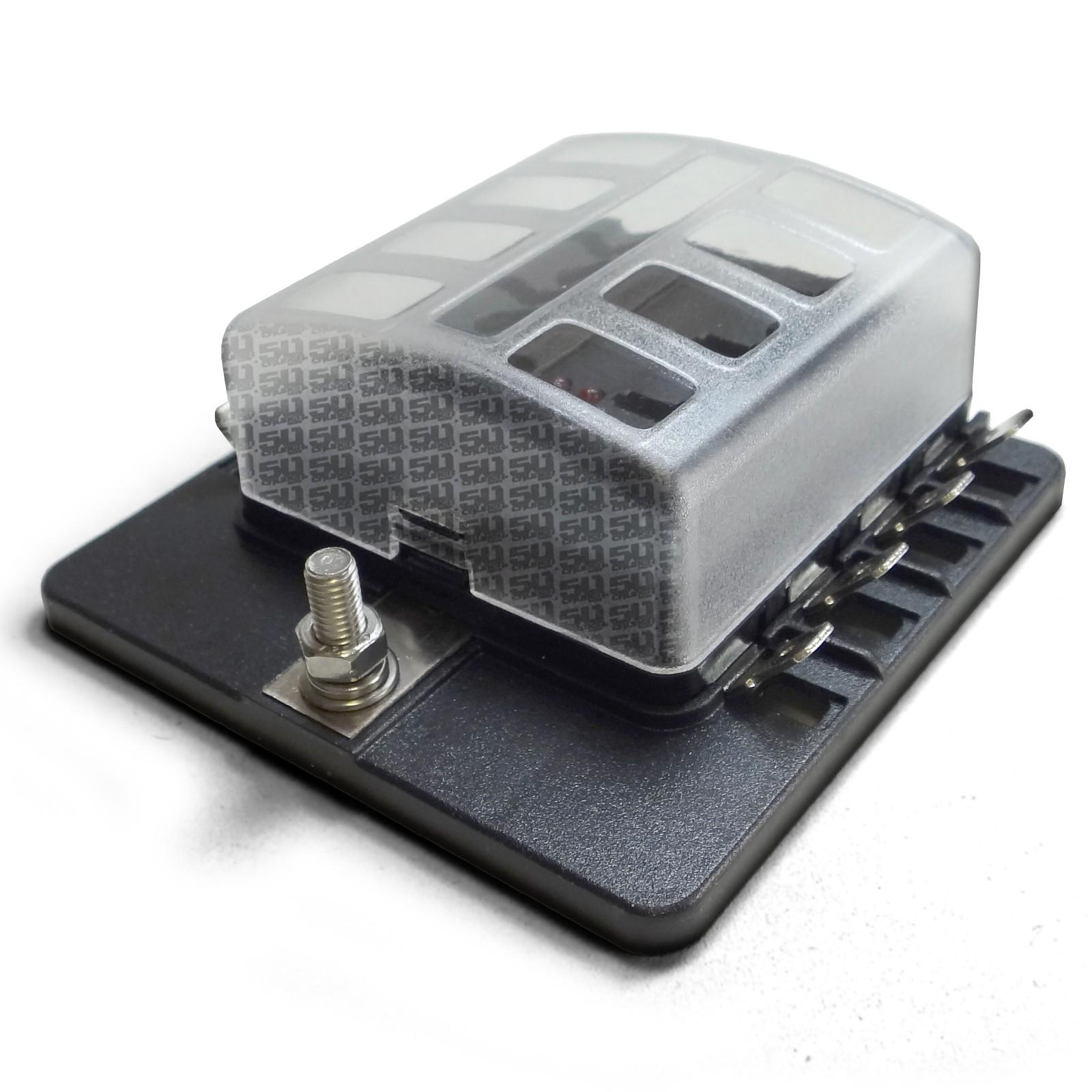 Universal 8 Way Standard Led Circuit Blade Fuse Box