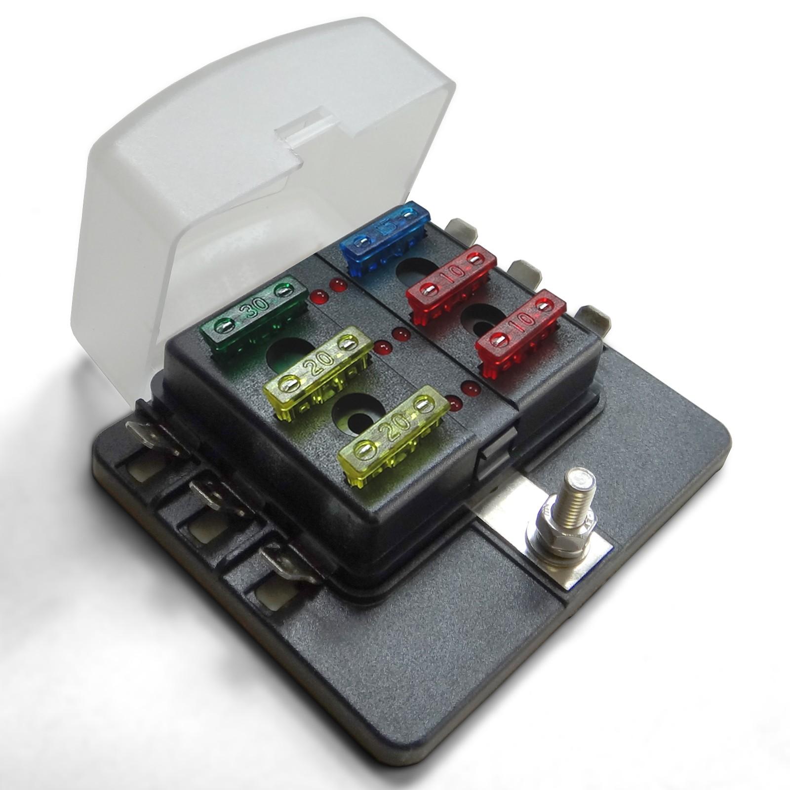 Universal 6 Way Standard Led Circuit Blade Power Block Fuse Box