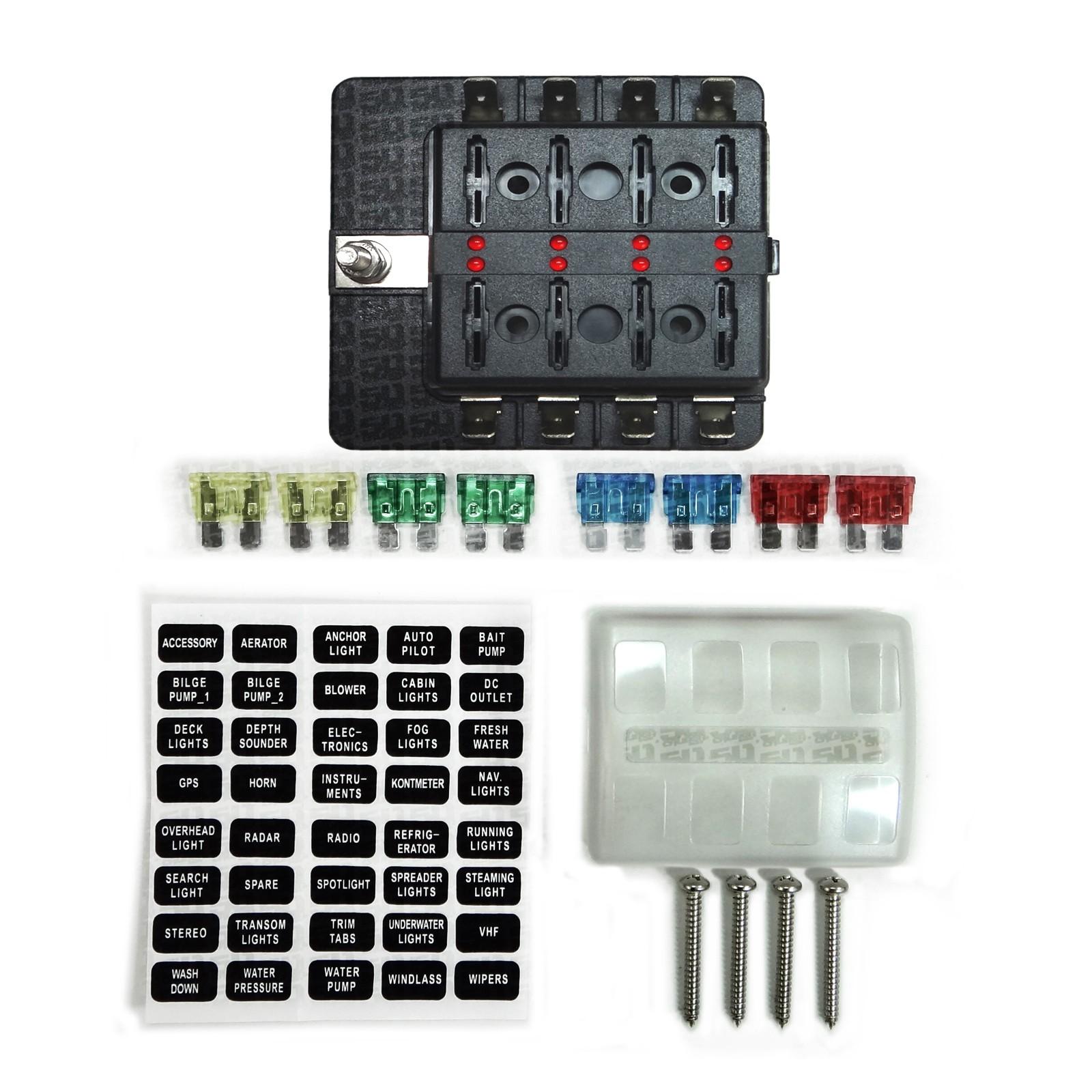 ... 8 Way Standard LED Circuit Blade Fuse Box