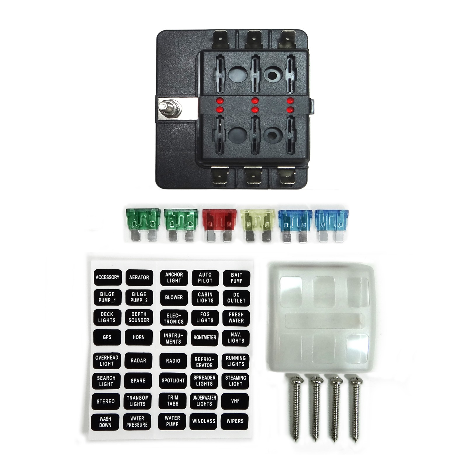 Universal 6 Way Standard Led Circuit Blade Power Block Fuse Box 12v Piece Aka Panel