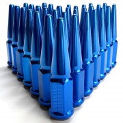 9/16 Extended Spike Lug Nuts - 60 Degree Taper Seat 32 Pack Blue for 8 Lug Trucks