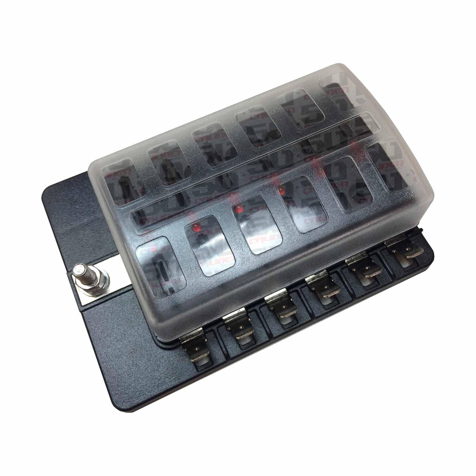 Universal 12 Way Covered 12v Circuit Blade Fuse Box Led Indicators Terminal Block Terminals