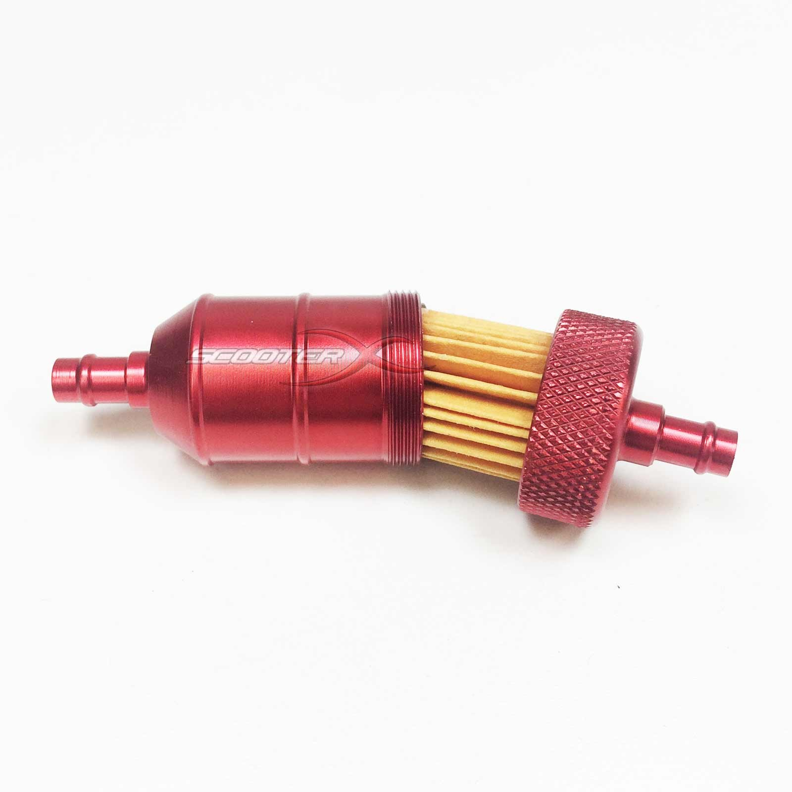 ... red anodized fuel filter 1/4 flange ...