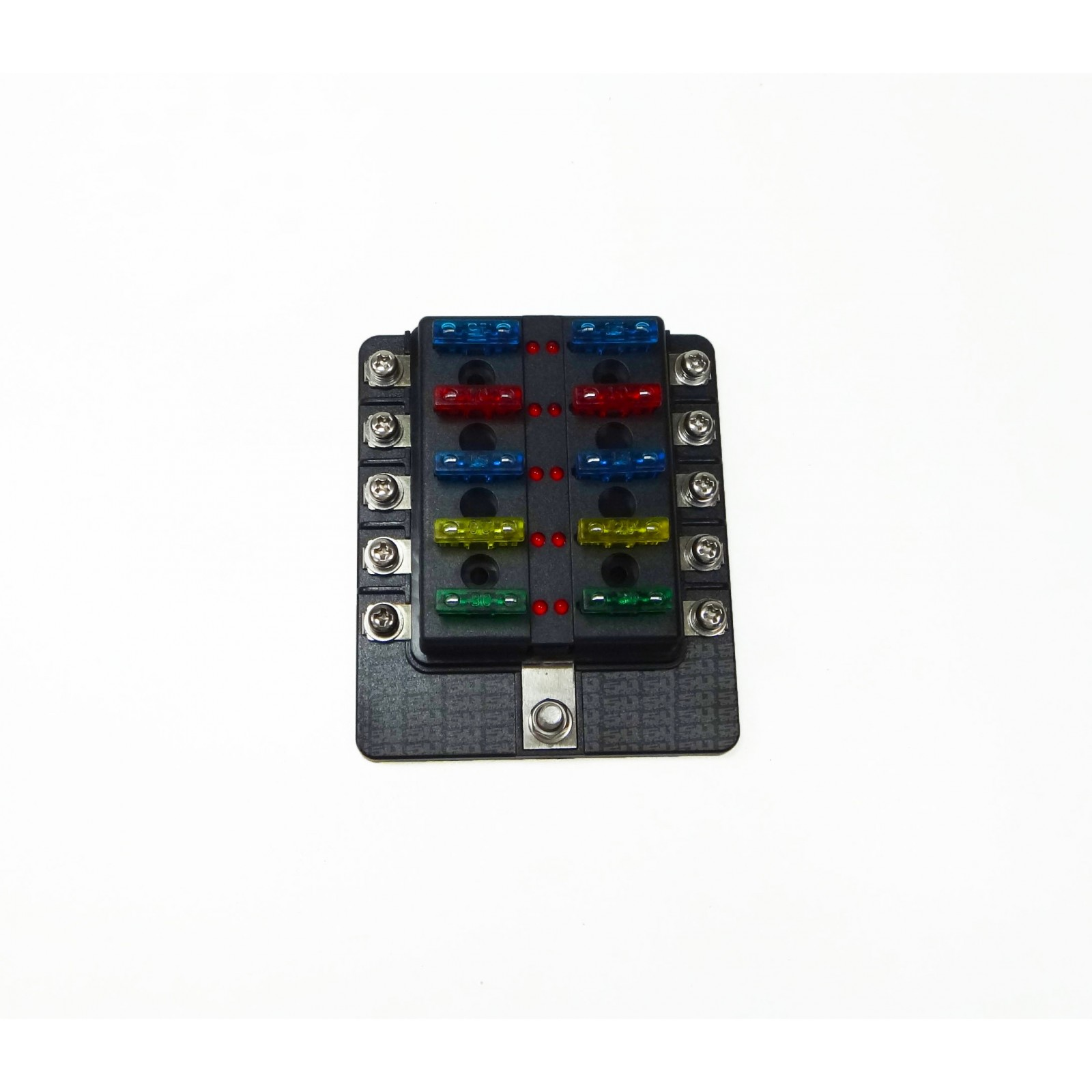 Universal 10 Way Covered 12v Circuit Blade Fuse Box Led Indicators Automotive Connectors Block Ring Terminals