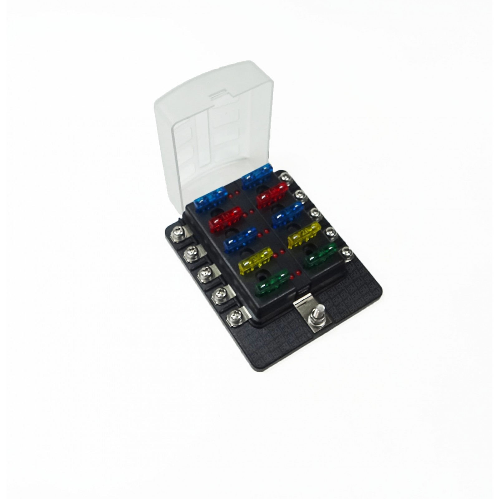 Universal 10 Way Covered 12v Circuit Blade Fuse Box Led Indicators Block Ring Terminals