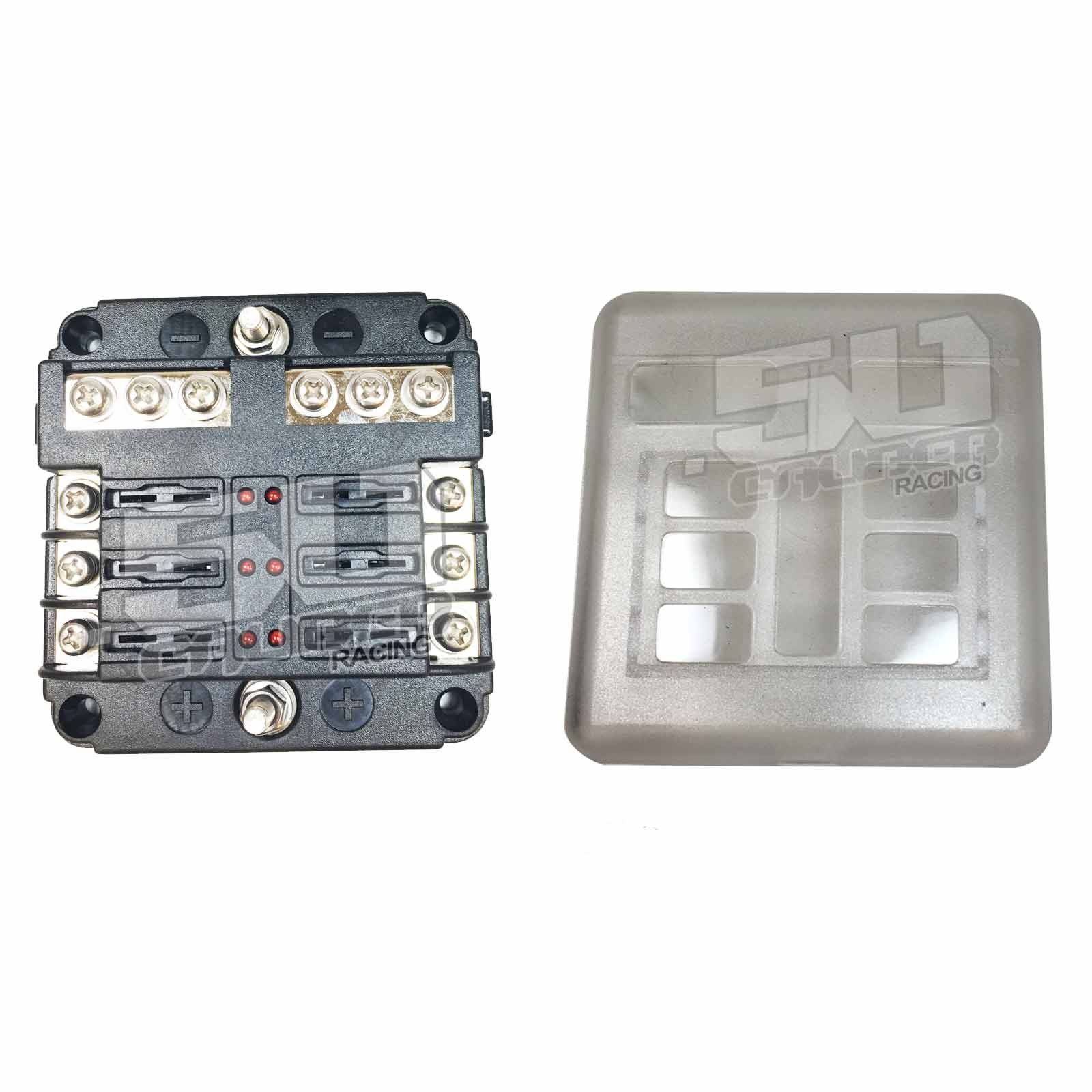 Universal 6 Fuse 12v Power And Ground Block Automotive Box Terminals Way With Cover Installed