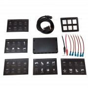 6 Switch Slim Surface Mount Touch Switch Panel- Slim profile with custom labels for 12 volt Auto Boat UTV and RV Applications