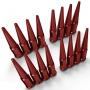 3/8-24 Extended Spike Lug Nuts - 60 Degree Taper Seat - Fits Polaris UTV and ATVs – Red Finish