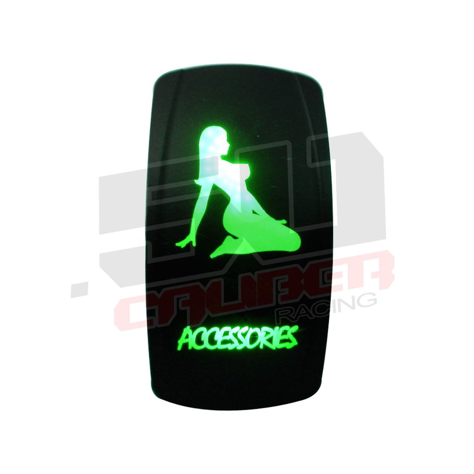 Illuminated Rocker Switch Green Accessories Billet