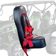 "50 Caliber Racing Rear Bump Seat with 2"" Safety Harness for Kawasaki Teryx 4 Seater - Red Harness"